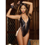 Dreamgirl Wet Look & Lace Deep V Teddy with Tie Up Wrist Restraints