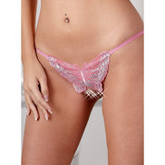 Mandy Mystery Crotchless Rose Butterfly G-String