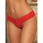 Dreamgirl Red Lace Open Crotch Thong