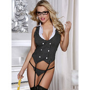 Bondara Office Eye Candy Basque and Stocking Set
