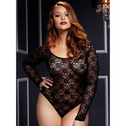Plus Size Baci Long Sleeve Open Back Lace Bodysuit