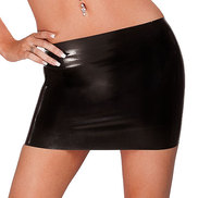 Bondara Latex Black Mini Skirt