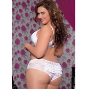 Plus Size Seven Til Midnight White Lace Boyshort with Ruffles