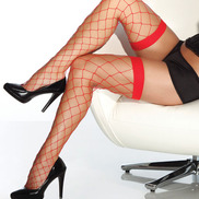 Coquette Red Wide Net Stockings