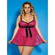 Bondara Plus Size Pink Lace Bow Detail Babydoll and Thong