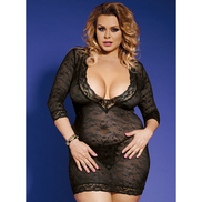 Bondara Plus Size Long Sleeve V-Neck Babydoll and G-String