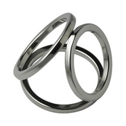 Triple Cock Ring - Stainless Steel