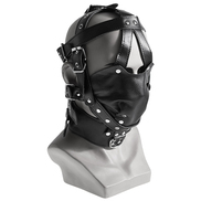 Leather Bondage Muzzle Mask Hood